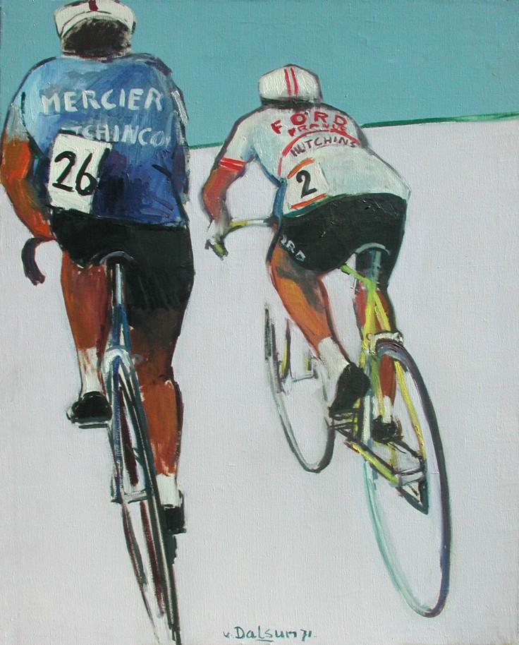 wielrennen wegrenners olieverf 1971