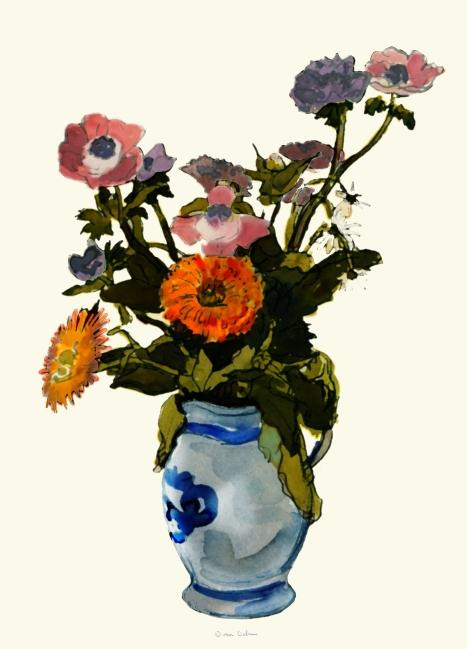 Stilleven - vaas met bloemen - aquarel op papier